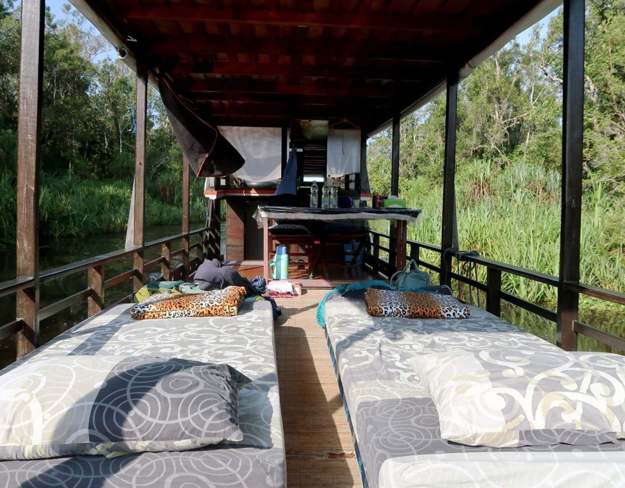 Unser Schlafplatz auf dem Klotok (Hausboot)